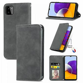 Case para Samsung Galaxy A22 5g Magnetic Closure Leather Wallet Cover Housse Etui Shockproof - Cinza