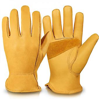 Evago Wear Resistance And Dirt Resistance Leather Work Gloves Stretchable Wrist Tough Cowhide Working Glove 1 Pair Gold S-xl