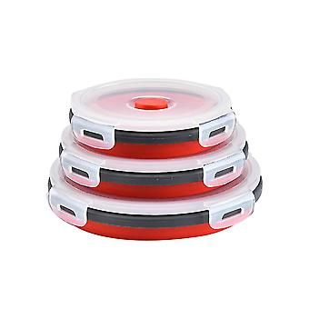 Round Bento Box Lunch Box Silicone Folding Food Container Red 350/500/800ML 3 Piece Set