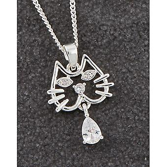 Collier plaqué argent Modern Kitty Face