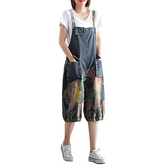 Woman Loose Overalls Demin Printed Jeans