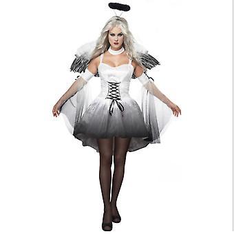 Halloween volwassen zwarte witte engel kostuum vampier demon partij kostuum