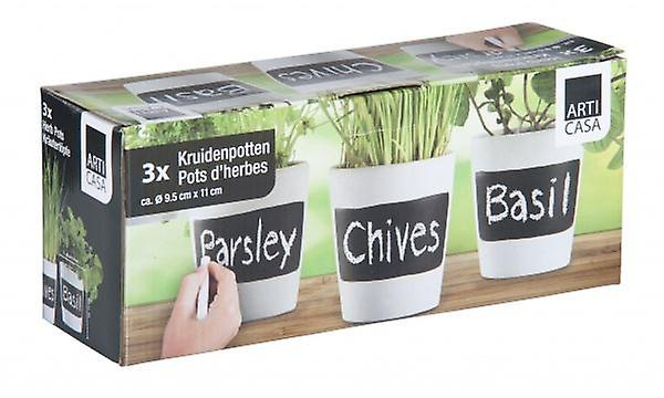 Set Of 3 Herb Pots Pottery For Growing Parsley, Chives Or Basil