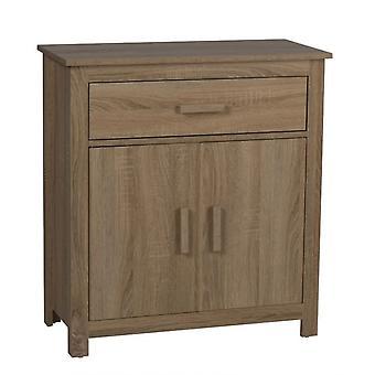 Meuble de rangement de maison de chevet en bois naturel avec tiroir et placard 79x73cm