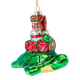 Coastal Nautical Sea Turtle with Gifts Blown Glass Christmas Holiday Ornament