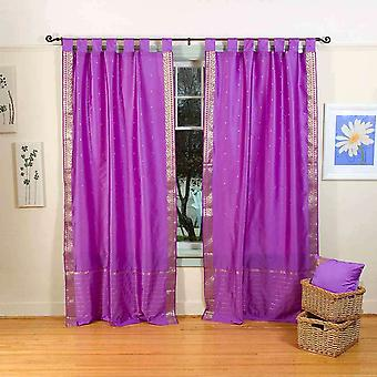 Indo Lavender Tab Top Sari Sheer Curtain (43 in. x 84 in.)