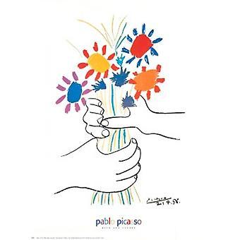 Vigtigste aux Fleurs plakat Print af Pablo Picasso (24 x 30)
