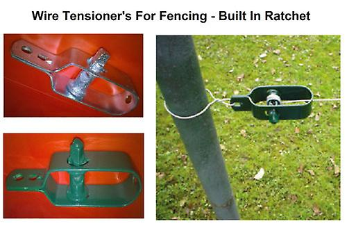 Wire Fence Tensioner - (4 Pack - Green) Ratchet Type - Galvanised Green or Natural