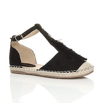 Ajvani damskie płaskie klamra t-bar frędzle frędzel espadryle sandały buty