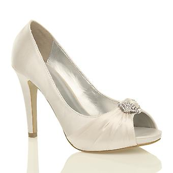 Ajvani womens high heel diamante ruched bridal wedding prom evening peep toe court shoes pumps