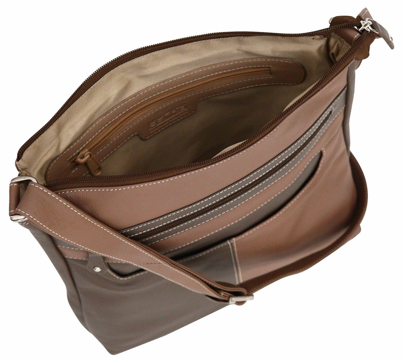 Genuine Real Leather Ladies Cross Body Messenger Bag Shoulder Large Side Handbag