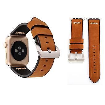 Genuine leather bracelet for Apple Watch series 1 / 2 / 3 38 mm Brown