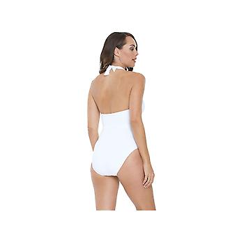 Seaspray SY006435A Women's White Solid Colour Costume One Piece Swimsuit