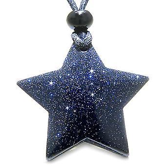 魔法 5 先の尖ったスーパー スター ブルー ゴールド石正幸運お守り彫刻ペンダント ネックレス