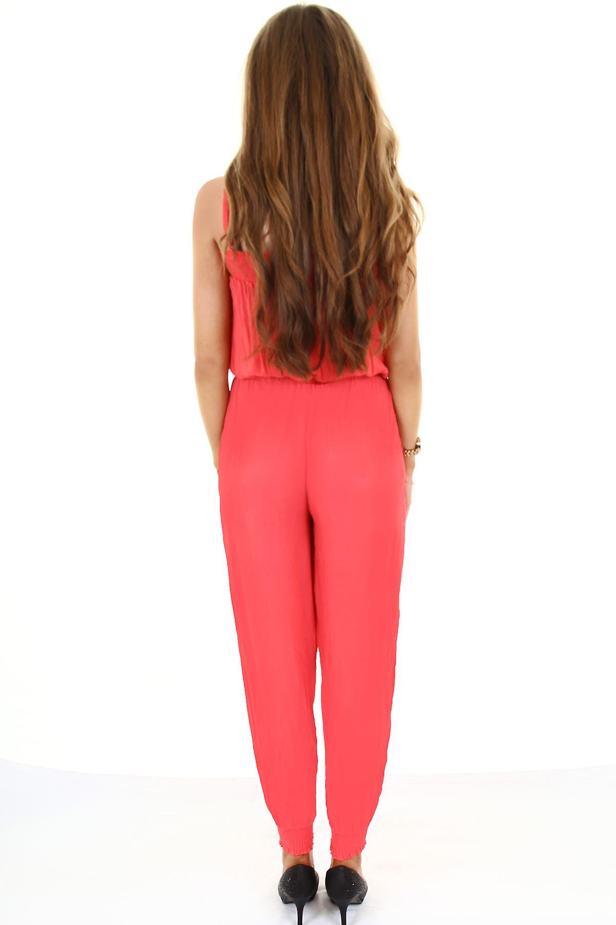 Ladies Strappy Plain Elasticated Waist Stretch Women's Summer All In One Jumpsuit
