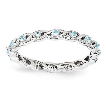 2.5mm 925 Sterling Silver Polished Prong set Stackable Expressions Blue Topaz Ring Jewelry Gifts for Women - Ring Size: