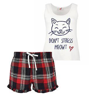 Non lo Stress Meowt Cat Ladies Tartan volant breve pigiama Set rosso blu o verde blu