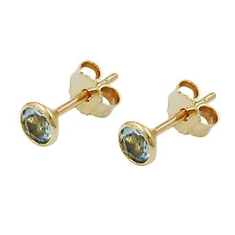 Plug of 5mm synthetic aquamarine 8Kt GOLD
