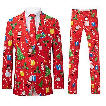 d/snakket Mens røde Festive Fun 2 stykke Christmas Dress