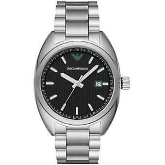 Emporio Armani Men's Watch Silver Bracelet Green Logo Classic Ar6129