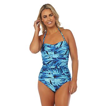 Seaspray SY007786 Women's Narissa Blue Multicolour Floral Costume One Piece Draped Bandeau Swimsuit