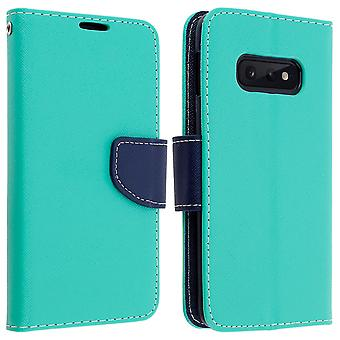 Fancy style cover, wallet case with stand for Samsung Galaxy S10e - Verde