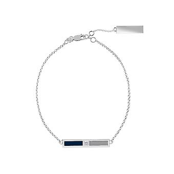 New York Yankees Sterling Silver Diamond Chain Chain Bracelet In Blue and Grey