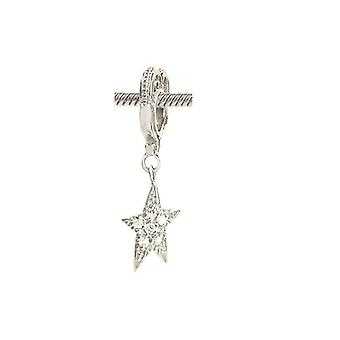 Storywheels Silver & Diamond Star Dangle Charm S030D