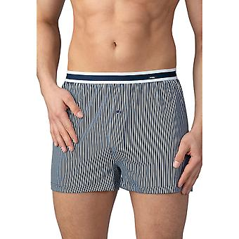 Mey 33422-668 Men's Stripe Yacht Blue Cotton Loose Boxer