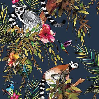 Lemur Wallpaper Marino Azul Selva Tropical Aves Metalizadas Árboles Florales Animales