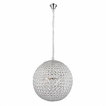 4 Light Spherical Ceiling Pendant Chrome, Clear Crystal (k9) Glass Detail