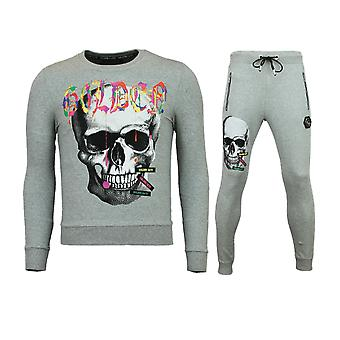Goedkope Trainingspakken Heren - Slim fit Mannen Joggingpak - Color Skull - Grijs
