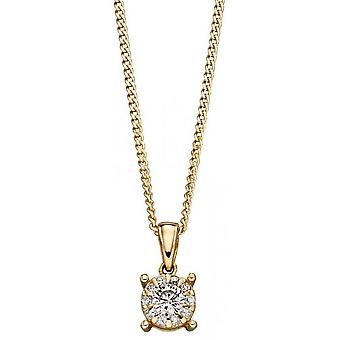 Elements Gold Diamond Cluster Pendant - Gold/Silver