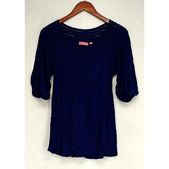 Ava Rose Lattice Embellished 3/4 Sleeve Knit Tee Blue Top Womens #5