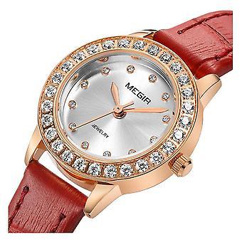 Megir Ladies Round Quartz Analogue Luxury Watch Rose Gold Smart Watches Leather