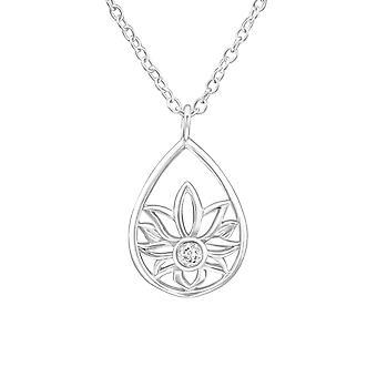 زهرة - 925 قلادة فضية الجنيه الاسترليني مرصعة بالجواهر - W36835x