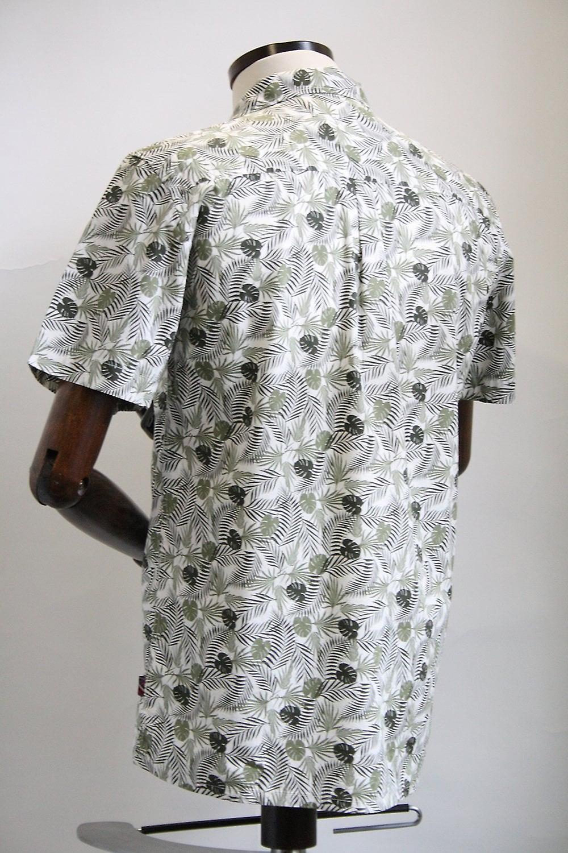 Merc London Darwin Cream Leaf Print Shirt