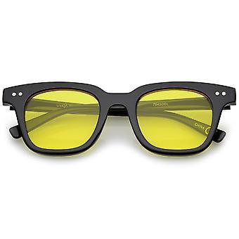Retro Chunky ram färg tonade Square platt lins Horn kantad solglasögon 47mm