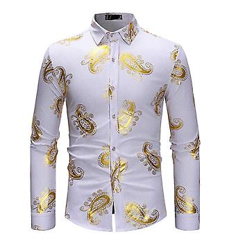 Allthemen الرجال & apos;ق سليم تناسب برونزينج المطبوعة الأعمال عارضة قميص الأكمام الطويلة