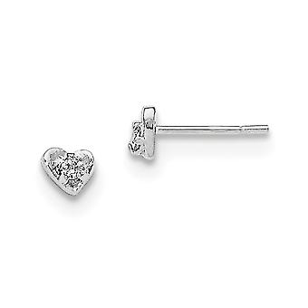 925 Sterling Silver Polished Cubic Zirconia Heart Post Earrings