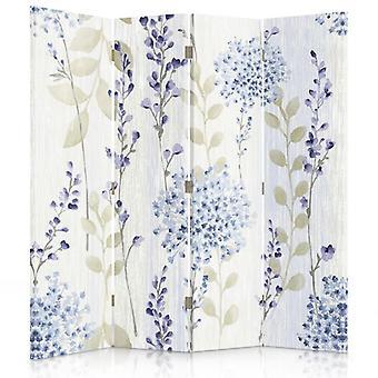 Raumteiler, 4 Panels, doppelseitig, drehbar 360, Leinwand, Blumenmuster 2