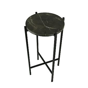 Black Marble Stone Top Metal Frame Accent Table