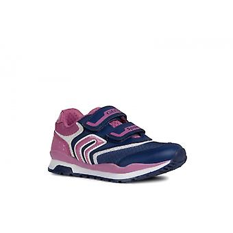 GEOX Pavel Girls Touch Fasten Trainers Navy/fuchsia