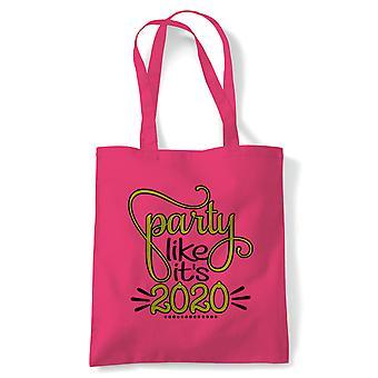Party som sin 2020 tote | Godt nyttårsaften feire Party resolution | Gjenbrukbare shopping Cotton Canvas Long håndtert Natural shopper miljøvennlig mote