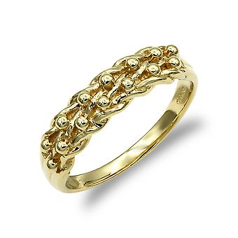 Jewelco London mænd ' s solid 9ct gul guld 2 række Keeper reb kant ring