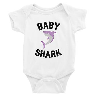 Daddy Mommy Baby Shark Familie passende Outfits Baby weiß Body