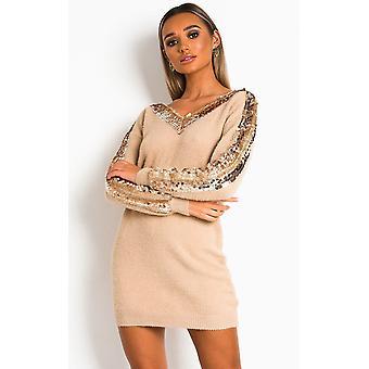 IKRUSH Womens Delia Embellished Knitted Jumper Dress