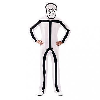Stick figure costume with 2 masks StickMan stroke man adult