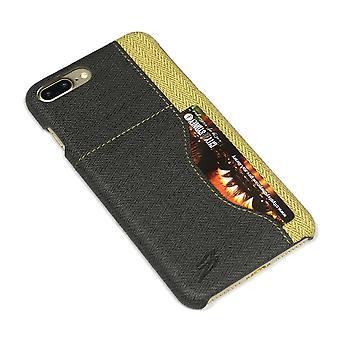 For iPhone 8 PLUS, 7 PLUS tilfelle, elegant vevd mønster holdbart skinndeksel, svart
