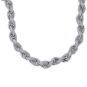 925 Sterling Silver Mens Round CZ Cubic Zirconia Simulated Diamond Rope Chain 11mm 28 Inch Jewelry Gifts for Men